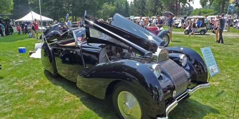 """With its stunning """"waterfall"""" grille, this 1939 Bugatti T57C Cabriolet by Voll & Ruhrbeck was elegant enough to claim the Best of Show alongside a Duesenberg."""