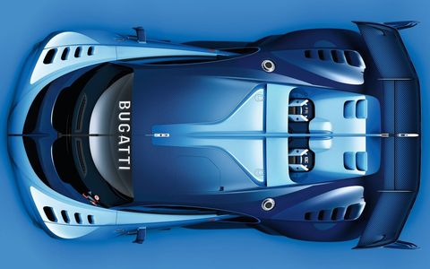 Bugatti's Vision Gran Turismo concept, designed to be downloaded and driven in the popular 'Gran Turismo' Playstation game, is the first Bugatti we've seen in racing kit in quite a while. Finished in French racing blue, it plays on the automaker's Le Mans-winning heritage while packing all the Alcantara a modern driver requires.