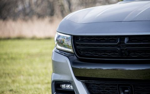 The Dodge Charger SXT Premium is equipped with a 3.6-liter V6 producing 300 hp, connected to an eight-speed TorqueFlite automatic transmission.