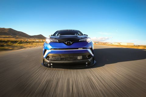 You may think the Toyota C-HR is just another small crossover utility vehicle, and it is - in production form. But Toyota gave one to Dan Gardner of DG-Spec, and a year later it appeared at SEMA, with 600 hp. We drove it on the big course at Willow Springs and will never dismiss small crossover utility vehicles again.