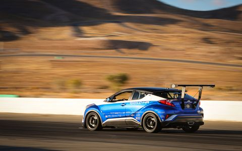 Yes, it started out as a lowly Toyota CH-R crossover utility vehicle, but when Toyota was done with it it had 600 hp and made 300 pounds of downforce via the rear wing alone!