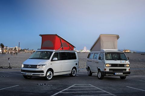 A T6 parks next to a T3, what we called the Vanagon.