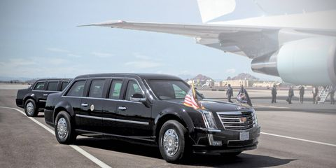 The 2017 presidential limousine, as seen in our rendering, is expected to borrow design details from the Escalade.