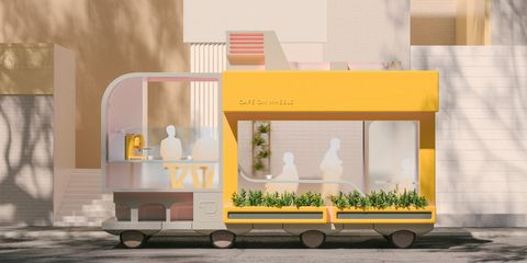 Cafe concept. IKEA's Space10 has come up with several vehicle concepts designed to illustrate potential AVs in the age when everything is autonomous.