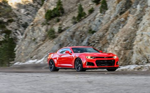The 2017 Camaro ZL1 gets the mighty 650-hp 6.2-liter supercharged V8 from the Corvette ZO6 with your choice of six-speed manual or an all-new 10-speed automatic. 0-60 comes up in 3.5 seconds. Price is $63,435. Manual's on sale now, automatic will be in showrooms in first quarter of 2017.