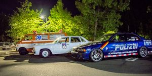 A selection of Cannonball Run cars, both from the movie and the real race, gathered in Greenwich, Connecticut, in June 2017 amid a reunion of Cannonball, U.S. Express drivers and modern record holders.