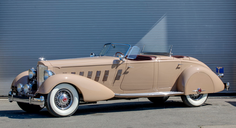 The Academy of Art University in San Francisco - which offers transportation design - is selling 50 cars from its private collection to make room for a new public automotive museum it's working on. This is LOT S125, a 1934 Packard 1108 V-12 Sport Phaeton with Fran Roxas Coachwork in the Style of LeBaron