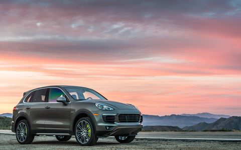 The 2015 Porsche Cayenne S E-Hybrid shown here gets a new 3.0-liter supercharged V6 good for 416 hp.