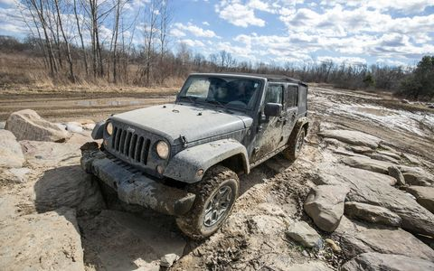 Our long-term 2016 Jeep Wrangler tackled most of what The Mounds off-road park could throw at it, 'cept for waist-deep mud.