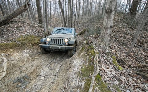 The Jeep Wrangler relished its chance to get dirty at The Mounds off-road park in Mt. Morris, Michigan.