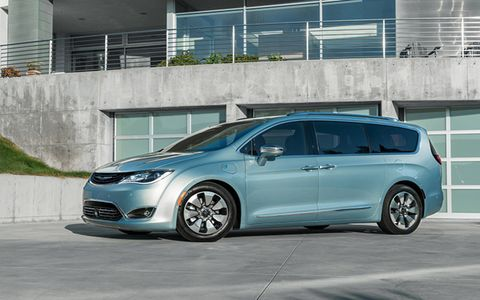 The Chrysler Pacifica Hybrid is a plug-in hybrid, with a relatively big 16-kWh battery that's good for a 30-mile range on electricity alone, It gets 80 MPGe city and a total range of 530 miles. Inside it's all Chrysler Town & Country utility. Pricing starts at $43,090 before Federal rebate of $7500, meaning you pay $35,590 in most states, $33,090 in states with more rebate money like California.