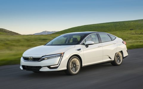 The Clarity is Honda's new hydrogen fuel cell vehicle, with an EPA driving range of 366 miles from an ultra-efficient fuel cell stack, 68 MPGe combined and seating for five. You can't buy it, it's lease-only, and you can only get it at 12 dealers, all of them in CARB-controlled California.