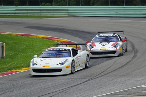Wei Lu racing the Ferrari World Challenge Car at Road America in 2014