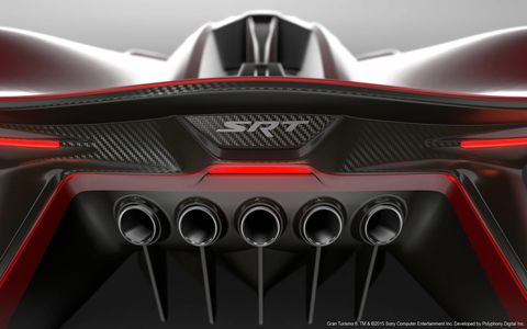 The SRT Tomahawk Vision Gran Turismo concept is powered by an exotic V10/pneumatic drive hybrid powertrain and it can top 400 mph. It also only exists digitally -- the radical one-seater was created for the Gran Turismo 6 driving simulation video game.