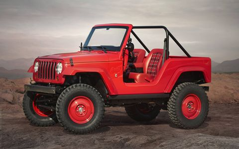 Jeep is bringing seven concepts to the 50th annual Easter Jeep Safari in Moab, Utah. Here's the Jeep Shortcut, a shortened Wrangler that recalls the CJ-5.