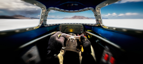 Fifty years after his father Mickey ran the same car, Danny Thompson set the record for piston-powered, wheel-driven cars at Bonneville with a new two-way AA/FS record of 448.757 mph in Challenger II.