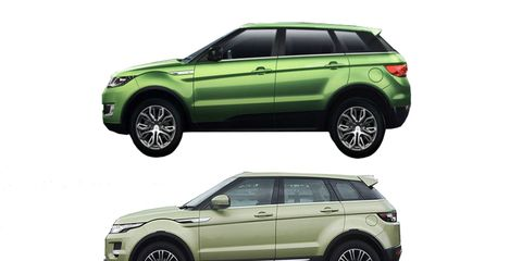 The Landwind X7, top, has borrowed virtually every exterior styling cue from the Range Rover Evoque.