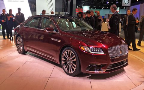 The 2017 Lincoln Continental on the floor of the Detroit auto show.