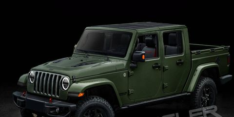 A rendering of the upcoming Jeep Wrangler pickup, which will apparently be called the Scrambler.