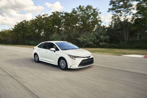 The 2020 Toyota Corolla Hybrid gets two motors and a 1.8-liter four to produce 121 hp.