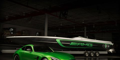 The Cigarette Racing Team 50' Marauder AMG celebrates ten years of CRT's collaboration with AMG with 3,100 hp.