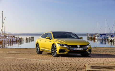 This is the 2019 VW Arteon fastback sedan, arriving here in summer 2018 as a 2019 model; R-Line trim, shown here, is available on SE, SEL and Executive models.