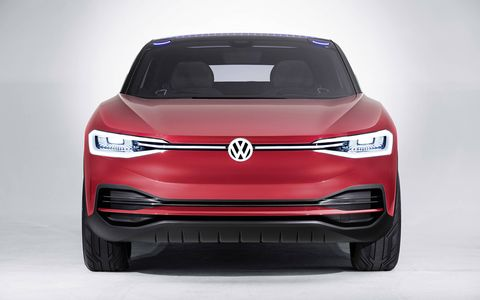 The VW I.D. Crozz, a hatchbackish four-door crossover, makes its U.S. debut at the L.A. auto show. The Crozz rides on the MEB platform, VW's new, adjustable electric car platform.