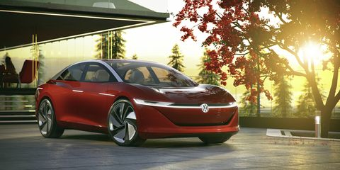 """The Volkswagen I.D. Vizzion concept went live before the Geneva auto show and, according to VW, """"drives autonomously, is operated by voice and gesture control, and thanks to artificial intelligence, will be capable of learning."""""""