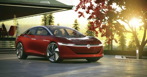 "The Volkswagen I.D. Vizzion concept went live before the Geneva auto show and, according to VW, ""drives autonomously, is operated by voice and gesture control, and thanks to artificial intelligence, will be capable of learning."""