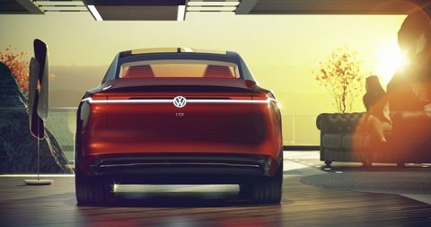 "The Volkswagen I.D. Vizzion concept went live before the Geneva auto show and according to VW, ""drives autonomously, is operated by voice and gesture control, and thanks to artificial intelligence, will be capable of learning."""