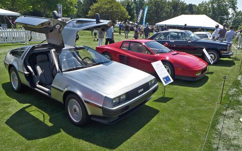 The 1980s dream cars class -- of course there was a Delorean, and of course the Delorean had a flux capacitor installed.