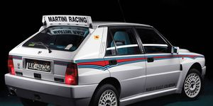 The Delta Integrale in Martini livery, a special edition from 1992, is one of the more recent classics that'll be powersliding across the block in Paris this week.
