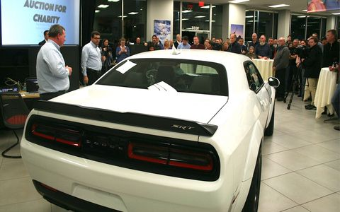 This 2018 Dodge Challenger SRT Demon was won by enthusiast Ted Parrott, who paid $14,700 for the right to buy this limited-edition land rocket.