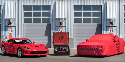 Barrett-Jackson will sell the 2018 Demon and 2017 Viper as a pair later in June.
