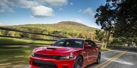 The Dodge Charger SRT Hellcat has a supercharged 6.2-liter HEMI Hellcat engine that produces 707 horsepower and 650 lb.-ft. of torque.