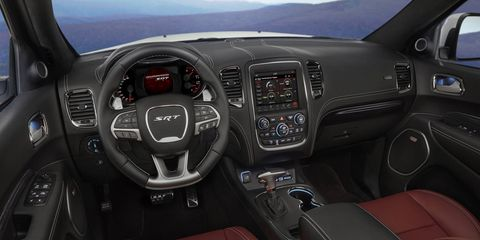 Inside, the 2018 Durango SRT gets Nappa leather, heated and ventilated front seats and a flat-bottom SRT steering wheel.