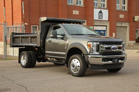 The 2018 Ford F-550 chassis cab comes with the option of a 6.8-liter V10 gasoline engine or a 6.7-liter diesel.
