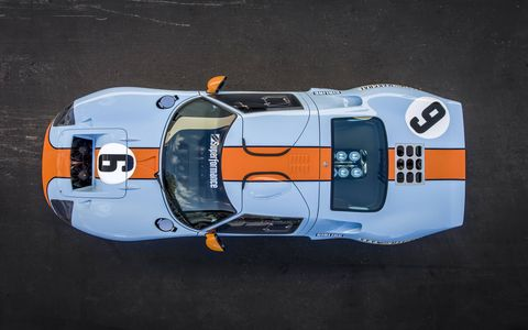 This Gulf-liveried Ford GT40 MkI from Hillbank Motorsports in Irvine, Calif., is powered by a Ford Racing 427 Cobra V8.