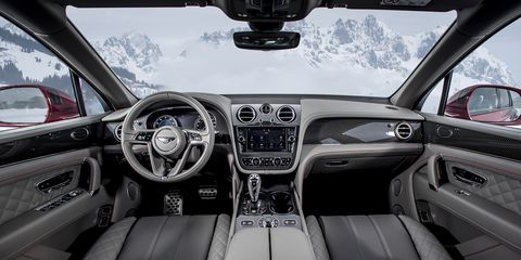 The Bentley Bentayga V8 may give up 4 cylinders to its W12-powered sibling, but it's all Bentley inside with quilted leather, wood (and new gloss carbon fiber) veneers and gorgeous stitching.