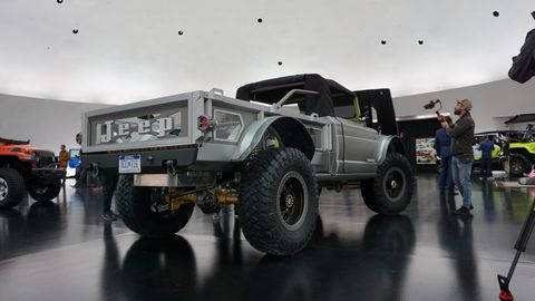 The rear view of the Five-Quarter concept. That custom bed is constructed of aluminum and wood.