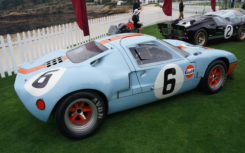 To commemorate the 50th anniversary of Ford's victory at Le Mans, they lined up 16 GT40s along the water on the 18th green.