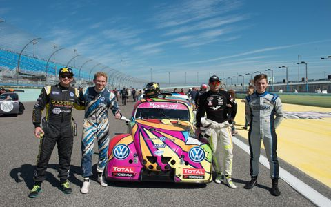 The racing Beetles are all the same spec with a 2.0-liter, 170-hp Volkswagen racing engine.