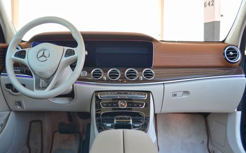 The interior is straight-up E-Sedan, so fit and finish is among the best in all of automobiledom with rich woods and excellent fit and finish.