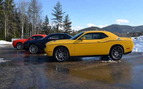 The 2017 Dodge Challenger GT AWD features Dodge's 3.6-liter Pentastar V-6 engine, delivering 305 horsepower at 6,350 rpm and 268 lb.-ft. of torque at 4,800 rpm.