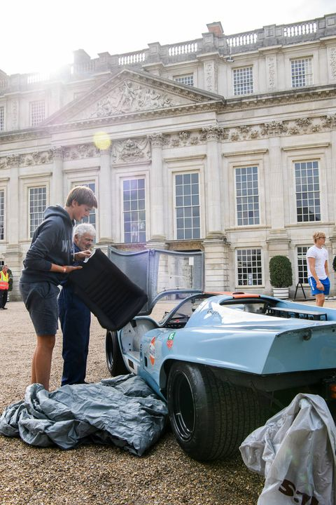 A 917 gets set up to help celebrate 70 years of Porsche.