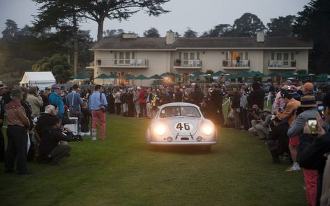 When Emory Motorsports finished the restoration, they showed old number 46 at the Pebble Beach Concours. Before it was finished, the race car was shown at Rennsport Reunion in the bare metal.