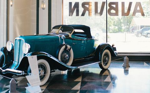 Step inside the Auburn Cord Duesenberg Automobile Museum in … and step out of the usual flow of time. The centerpiece of the Auburn, Indiana museum is the preserved art deco factory showroom, which is just as impressive as the cars displayed in it.