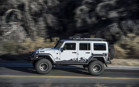 The fully-optioned 20th Anniversary AEV Wrangler is the king of Jeeps, with well-engineered suspension mods and a mighty 6.4-liter Hemi underhood. Cost is around $100,000, depending on how you load it up.