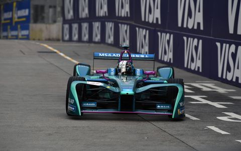 Sights from the Formula E action on the streets of Hong Kong, Saturday December 2, 2017.