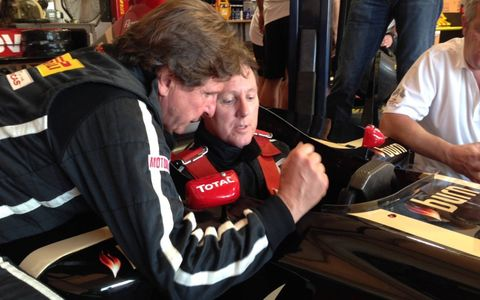Before driving you get instruction from Ferrari sports car champion Didier Theys.